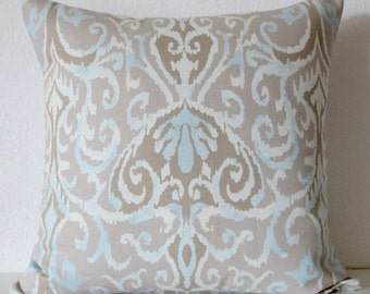 Pillow Cover - Winchester ikat Dusk - blue an grey