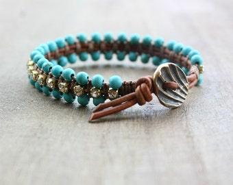 Turquoise and Rhinestone Beaded Leather Wrap Bracelet, Antiqued Brass Button, Boho, Bohemian, Rustic Jewelry. Macrame Bracelet