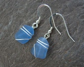 Cornflower Blue Sea Glass Earrings - Wire Wrapped - Sterling Silver
