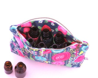 Essential Oil Case - Fun Floral - JANUARY INDEPENDENT ARTIST - cosmetic bag zipper pouch essential oil bag