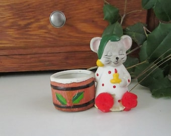 Sleeping Mouse Christmas Votive Candle Holder – Ceramic – Vintage Holiday Décor