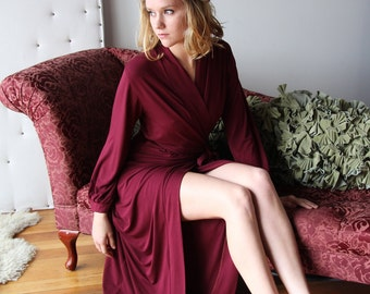 long bamboo robe with wrap closure and bishop sleeve full length - Wine color - medium size - ready to ship