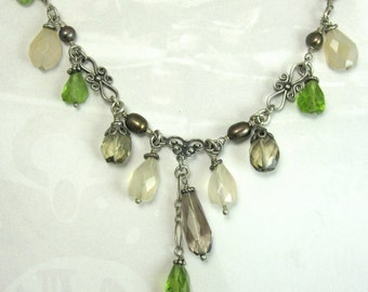 Silver Wire Wrapped Necklace Victorian Inspired Peridot and Smoky Quartz Drops