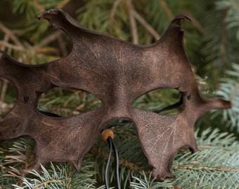 Brown Oak Leaf Mask Split Leather