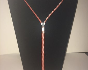 "Zipper Necklace - 30"" Orange & Silver"