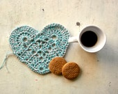 blue heart coaster  pot holder in light blue and silver, crocheted for valentine -