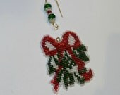 Beadwork Mistletoe with red ribbon Christmas Ornament Tree Decoration Holiday home decor with custom hanger