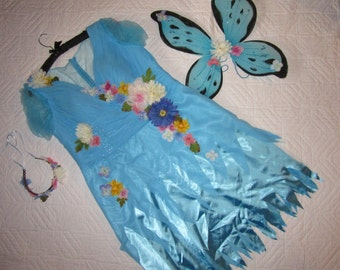 Flower fairy princess dress butterfly womens size 18 20 Halloween Costume cosplay fantasy plus size blue