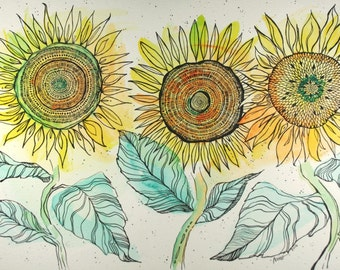 Three Sunflowers Multi Media Art . Original Artwork . Watercolors . India Ink . Flower Art