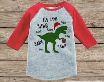 Dinosaur Christmas Outfit - T Rex Christmas Shirt or Onepiece - Holiday Outfit for Baby, Toddler, Youth - Boy Dino Outfit Tyrannosaurus Rex