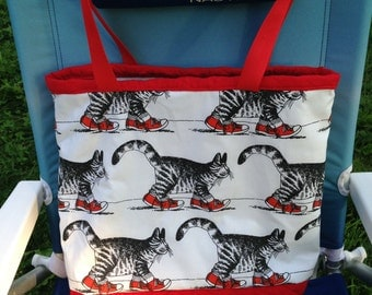 Kliban Cat Large Quilted Tote Bag ~ Gym Bag ~ Grocery Bag