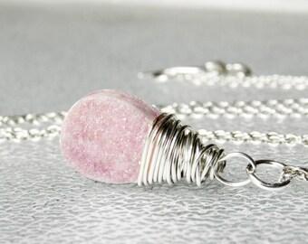 Silver Druzy Necklace, Pink Druzy Necklace, Druzy Quartz Necklace, Charm Necklaces, Crystal Necklace, Beaded Necklace, Pendant Necklace