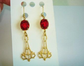 "Red  Earrings Gold Tone  Dangle 2"""