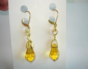 Topaz Crystal Dangle Earrings Gold Tone