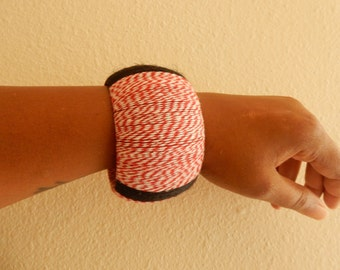 Chunky Red, Black & White Wrapped Wood Bangle
