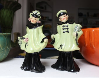 Florence Ceramics California Pottery Figurines Asian Couple Vase 1950 VINTAGE by Plantdreaming