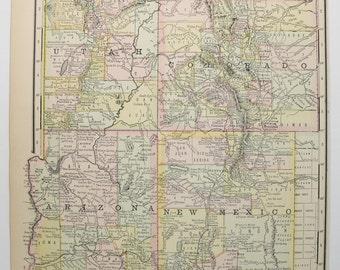 Southwest US Map 1888 Arizona Map New Mexico, Colorado Map Utah, Southwestern Decor, Historical Map, Vintage Pastel Map, Office Decor Gift