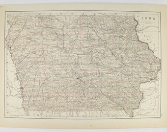 Antique Iowa Map 1884 A C Black Map of Iowa, Gift for Teacher, Unique Wedding Gift for Couple, Vintage IA Map, US Geography Wall Art