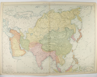 Original 1903 Large Asia Map, Antique Map of Asia, Middle East Map, India Chinese Empire Map, Vietnam, Thailand Map, Vintage Asian Decor