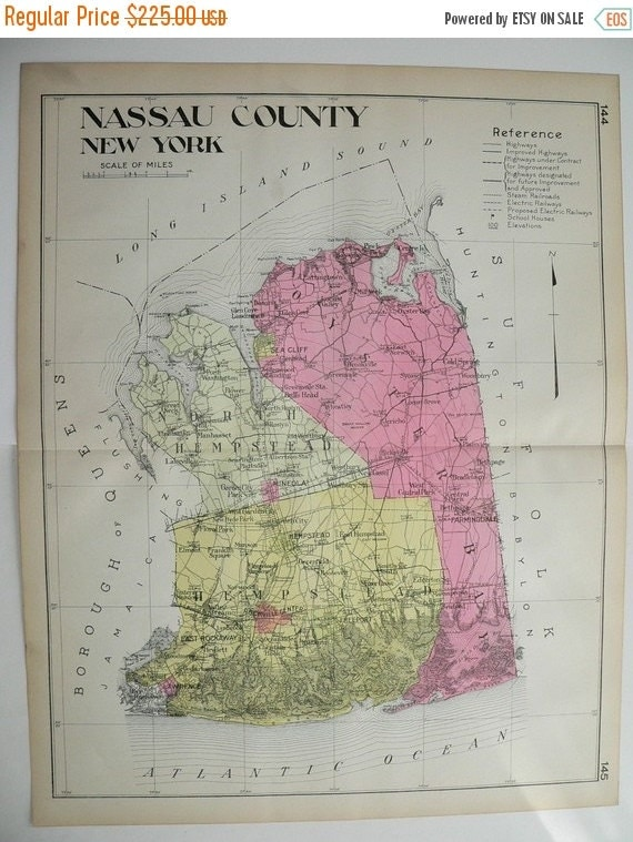 1912 Nassau County NY Map Original Large Map, Genealogy Historical Map, New York Gift, Vintage Art Map, Long Island, Oyster Bay, Hempstead