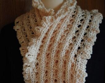"Off White Hand Knitted Fashion Scarf -- Italian Chain Rib Stitch Pattern -- 10"" x 45"""