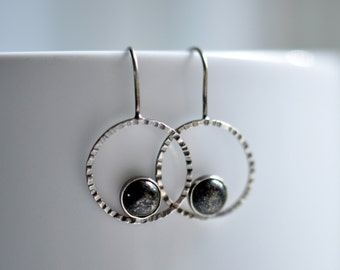 Sterling Silver Circle Earrings with Pyrite