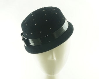 Black FASCINATOR  HAT - Mini Top Hat - Wedding Hat - Black Winter Hat - Women's Felt Hat - Ladies Winter Hat - Handmade Hat - Mini Hat