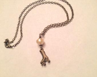 25% off sale - Necklace - Antique Bronze Bronze Roller Skate - Pale Pink Pearl