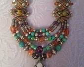 Beautiful Amber, Turquoise and Opal necklace