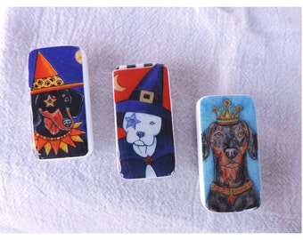 Domino Magnets Set of 3 Dogs with Hats Animals Gift Boxed