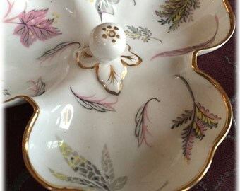 Mid Century Nut Dish, Jewelry Bowl, Tuscan Fine China Windswept, Leaf Design, Pink Gray Gold Trim