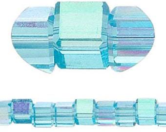6mm AB turquise, 18 facet crystal cube beads, 8 inch strand