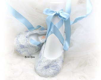 Ballet Flats, White, Ivory, Silver, Blue, Light Blue, Wedding Shoes, Something Blue, Flats, Lace Up, Ballerina Slippers, Cotton, Crystals