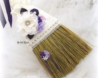 Wedding Broom, Ivory, Cream, Purple, Plum, Lilac, Lavender, Vintage Wedding, Elegant,Jumping Broom, Jump The Broom, Crystals, Pearls, Brooch