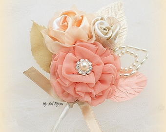 Groom Boutonniere, Ivory, Peach, Coral, Champagne, Corsage, Elegant Wedding,Vintage Style,Mother of the Bride, Chiffon, Pearls, Crystals