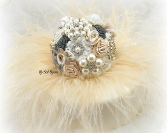 Cake Topper, Vintage Style, Elegant Wedding, Ivory, Champagne, Gold, Pewter, Cake Decoration, Feathered Topper, Gatsby, Pearls, Crystals