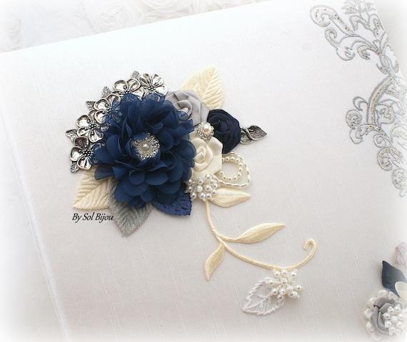photo album ivory silver navy blue gray wedding album