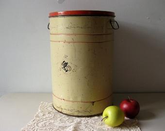 Vintage large metal storage canister Tin 1930s storage bin