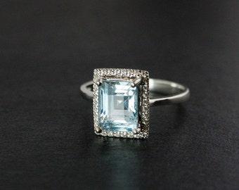 25% OFF Aquamarine Engagement Ring - Pave Diamond Setting - Choose Your Stone
