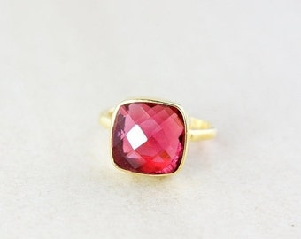 25% OFF Gold Red Ruby Quartz Gemstone Ring - Stackable Ring - Cushion Cut