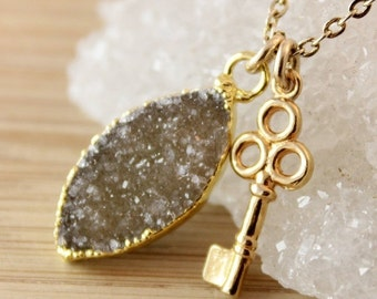 50% OFF Leaf Druzy and Skeleton Key Charm Necklace - 14K GF - Marquise Pendant