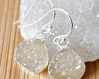 50% OFF Mini Vanilla Agate Druzy Earrings - Wide Teardrops - Drusy Jewelry