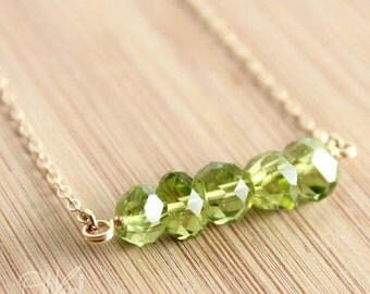 40 OFF SALE Gold August Green Peridot Necklace - 14K Gold Fill - August Birthstone