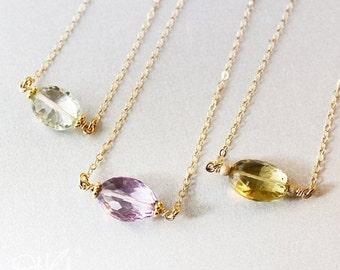 40 OFF SALE Gold Minimalist Gemstone Necklaces - Green Amethyst, Pink Ametrine, Champagne Citrine - Sweet Bon Bon