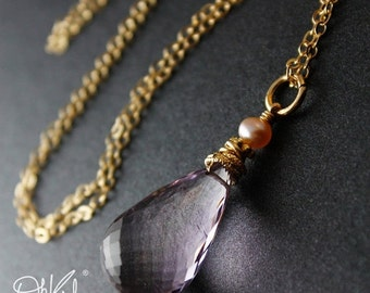 40 OFF SALE Gold Pink Ametrine Necklace - Freshwater Pearl - Pink Bridesmaids Necklaces
