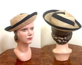 Vintage 1930s hat French straw with stylish black ribbon and metal ring trim
