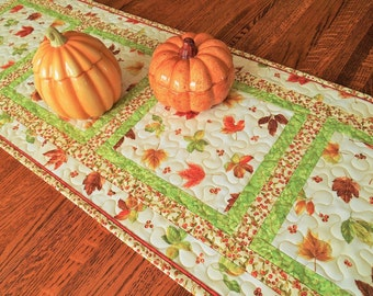 Autumn Leaves Table Runner, Quilted Fall Table Runner, Leaves in Rust Orange Brown and Gold, Thanksgiving Table Decor, Quiltsy Handmade