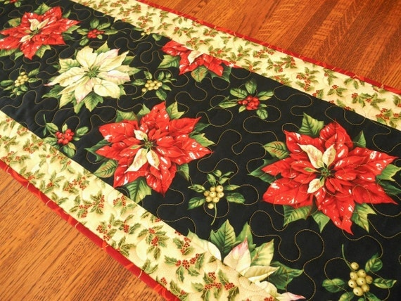 Christmas Table Runner, Poinsettias and Holly, Quilted Table Runner, Extra Long Table Runner, Quilted Tablecloth, Quiltsy Handmade