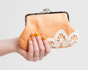 double frame purse with vintage lace, apricot orange