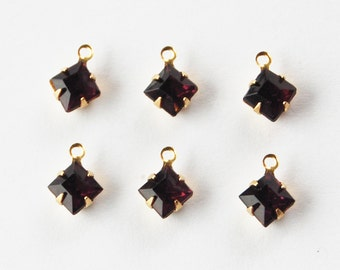 Vintage Amethyst Glass Pendant Beads 6 Square Glass Bead 6mm